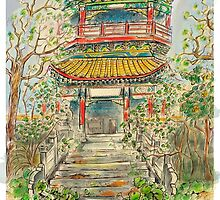 Abandoned Pagoda in Springtime by moxey