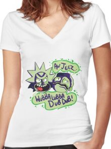 AW JEEZ, WUBBA LUBBA DUB DUB! Women's Fitted V-Neck T-Shirt