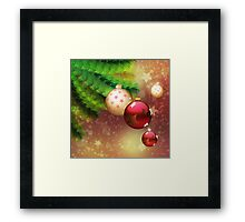 Red and gold balls on branch Framed Print