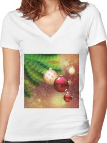 Red and gold balls on branch Women's Fitted V-Neck T-Shirt