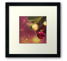 Red and gold balls on branch 2 Framed Print