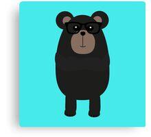 Nerd Black Bear Canvas Print