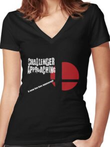 Super Smash Bros: Challenger Approaching! (3DS Style) Women's Fitted V-Neck T-Shirt