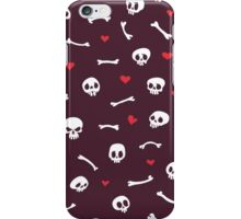 Cartoon Skulls with Hearts on Maroon Background Seamless Pattern iPhone Case/Skin