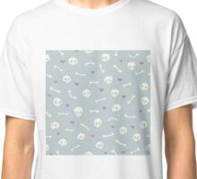 Cartoon Skulls with Hearts on Light Blue Background Seamless Pattern  Classic T-Shirt