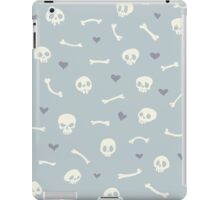 Cartoon Skulls with Hearts on Light Blue Background Seamless Pattern  iPad Case/Skin