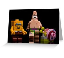 Lego Sponge Bob, Patrick and Gary Greeting Card