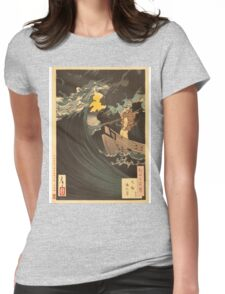 Moon Above the Sea at Daimotsu Bay (Benkei). Womens Fitted T-Shirt