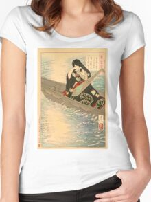 Ariko Weeps as Her Boat Drifts in the Moonlight. Women's Fitted Scoop T-Shirt