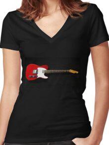 Red Fender Telecaster Women's Fitted V-Neck T-Shirt