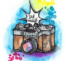 Watercolor illustration of vintage camera by magic4x
