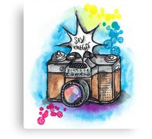 Watercolor illustration of vintage camera Canvas Print
