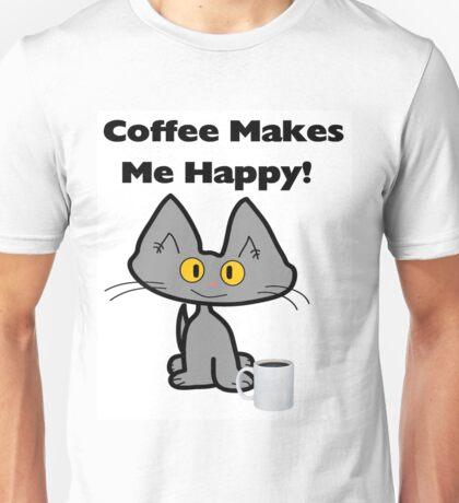 Coffee Makes Me Happy Cat Unisex T-Shirt