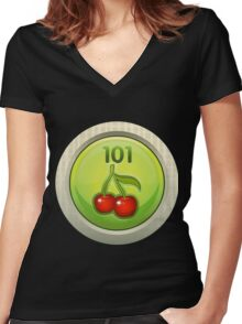 Glitch Achievement entrylevel fruit tree harvester Women's Fitted V-Neck T-Shirt