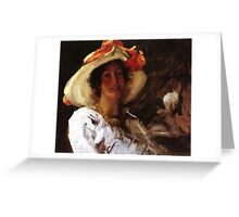 portrait-of-clara-stephens-wearing-a-hat-with-an-orange-ribbon Greeting Card