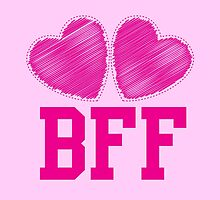 BFF with cute pink hearts Best Friends forever by jazzydevil