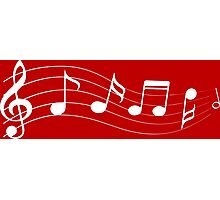 White musical notes silhouette Photographic Print