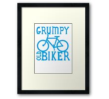 Grumpy old Biker with cycle riding bike bicycle Framed Print