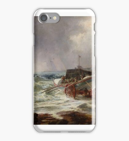 Robert Ernest Roe (fl. )  The lifeboat heading out in rough seas iPhone Case/Skin