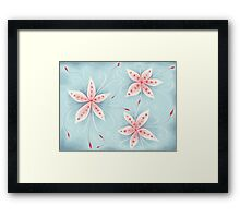 Beautiful Abstract Flowers In Red White And Blue Framed Print