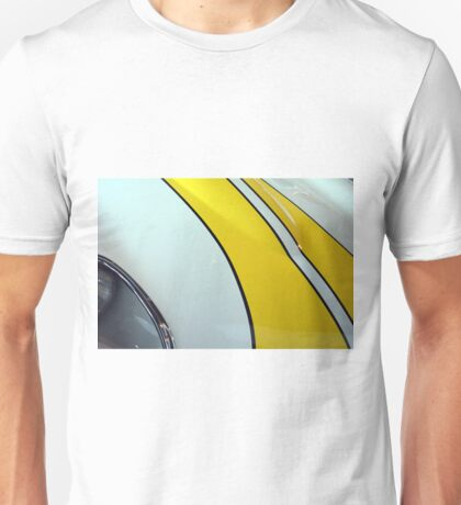 Detail of sport car with yellow stripes on the hood Unisex T-Shirt