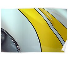 Detail of sport car with yellow stripes on the hood Poster