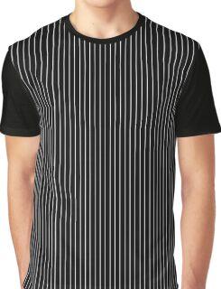 Black and White Thick Pin Stripe | Stripes Pattern Print Graphic T-Shirt