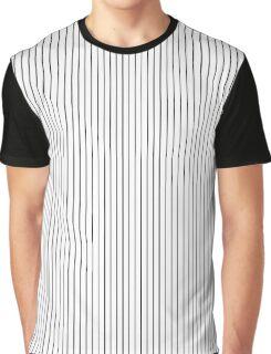 White and Black Thick Pin Stripe | Stripes Pattern Print Graphic T-Shirt
