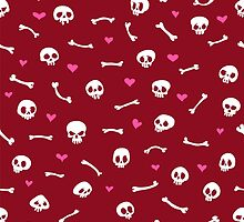 Cartoon Skulls with Hearts on Red Background Seamless Pattern by Voysla