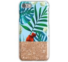 Aqua tropical breeze and rose gold glitter iPhone Case/Skin