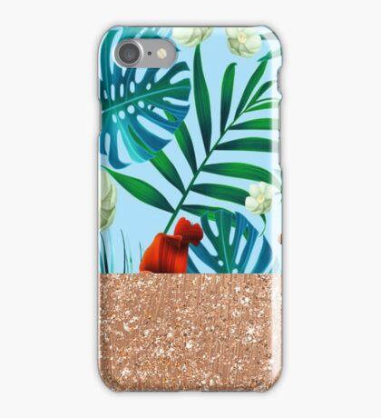Aqua tropical breeze and rose gold glitter iPhone Case/Skin
