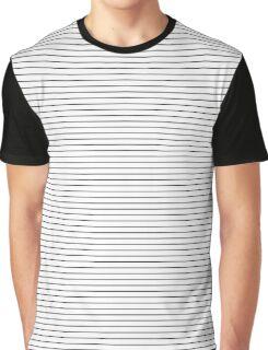White and Black Thick Horizontal Pin Stripe | Stripes Pattern Print Graphic T-Shirt
