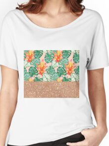 Peach tropical rose gold Women's Relaxed Fit T-Shirt