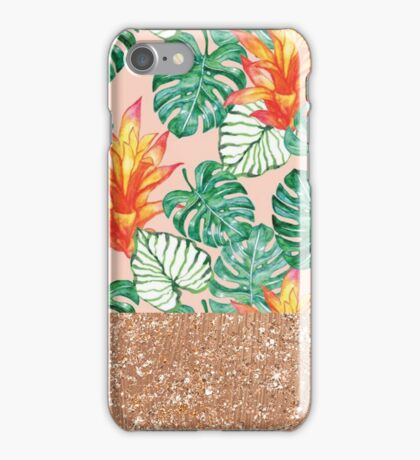 Peach tropical rose gold iPhone Case/Skin