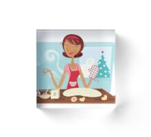 New hand-drawn Art in shop : Kitchen Girl Acrylic Block