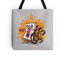 Cartoon Audio Cassette Tape on Gray Background Tote Bag