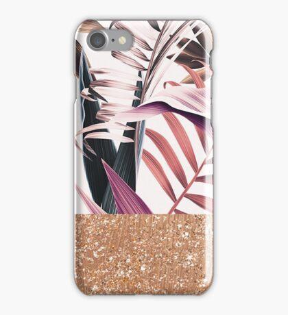 Magenta tropical rose gold iPhone Case/Skin