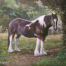Big horse in field by martyee