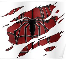 Spider inside red suit ripped torn Poster
