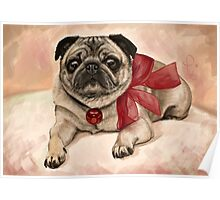 Christmas pug with a red bow  Poster