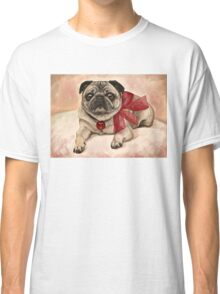 Christmas pug with a red bow  Classic T-Shirt