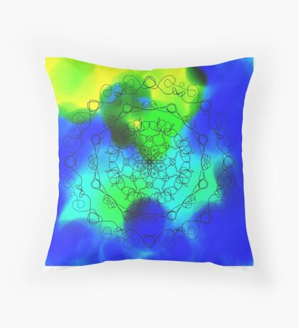 Blue Green and Yellow Mandala Throw Pillow