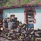 Barn with log pile by martyee