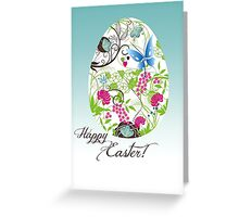 Colourful butterfly/flower Easter Egg Greeting Card