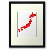 Japan map simple in RED Framed Print