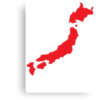 Japan map simple in RED Canvas Print