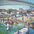 Sunday Morning Rowing at Itchen Bridge, Southampton  by martyee