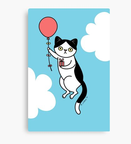 Birthday Cat - black and white Canvas Print