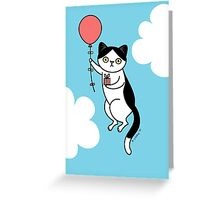 Birthday Cat - black and white Greeting Card
