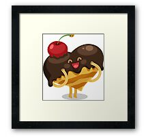 Valentines hearts cake with cherry Framed Print